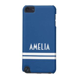 Deko-Streifen-Namensmonogramm-weich blaues Weiß iPod Touch 5G Hülle