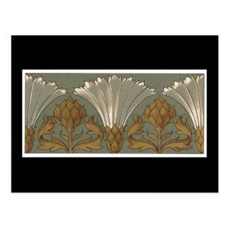 Deko-weiße Fan-Blumen mit Gold und Grau Postkarte