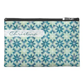 Dekorative Blumenfliesen-Reise-Tasche - Aquamarine