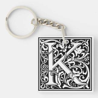 """Dekorative Buchstabe-Initiale """"K"""" Einseitiger Quadratischer Acryl Schlüsselanhänger"""