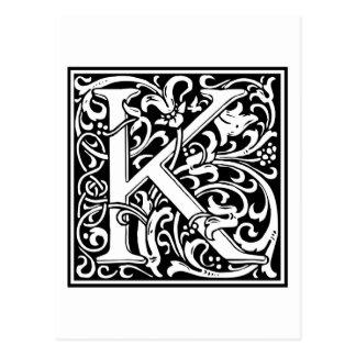 "Dekorative Buchstabe-Initiale ""K"" Postkarten"