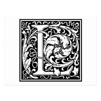 """Dekorative Buchstabe-Initiale """"L"""" Postkarte"""
