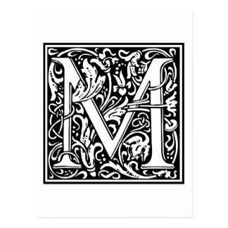 "Dekorative Buchstabe-Initiale ""M"" Postkarte"