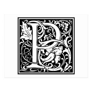 "Dekorative Buchstabe-Initiale ""P"" Postkarte"