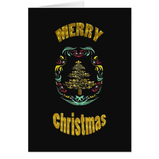 Dekorative frohe Weihnachten Gold Fleur de Lys Karte