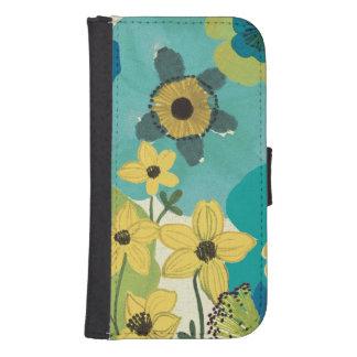 Dekorative Garten-Blumen Galaxy S4 Geldbeutel Hülle
