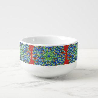 Dekorative grün-blaue rote Suppen-Tasse Große Suppentasse