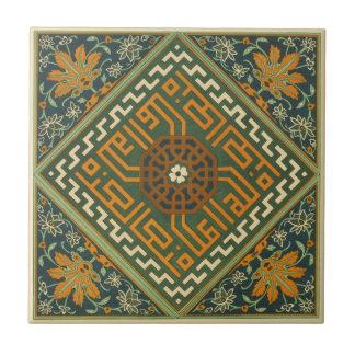 Dekorative grüne Kunst der Keramik-Vintage 1884 Keramikfliese