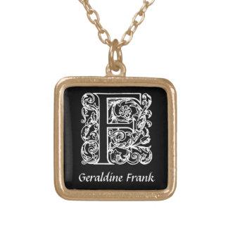 Dekorative Monogramm-Initiale des Buchstabe-F Halskette Mit Quadratischem Anhänger