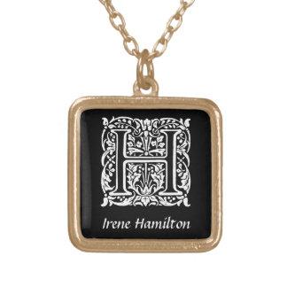 Dekorative Monogramm-Initiale des Buchstabe-H Halskette Mit Quadratischem Anhänger