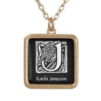 Dekorative Monogramm-Initiale des Buchstabe-J Halskette Mit Quadratischem Anhänger