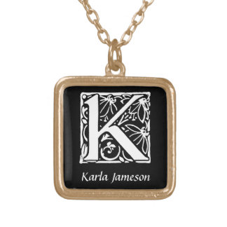 Dekorative Monogramm-Initiale des Buchstabe-K Halskette Mit Quadratischem Anhänger
