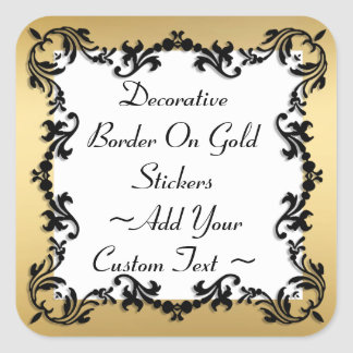 Dekorative schwarze Grenze auf Goldaufkleber Quadratischer Aufkleber