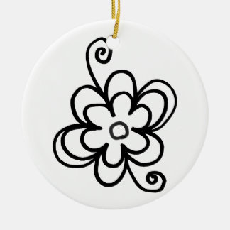 Dekorative Schwarzweiss-Kreis-Verzierung Keramik Ornament