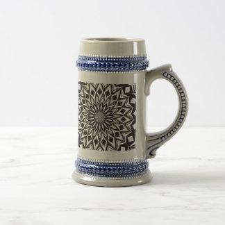 Dekorative Schwarzweiss-Mandala Bierglas
