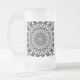Dekorative Schwarzweiss-Mandala Mattglas Bierglas