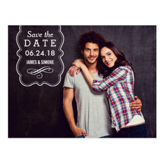 Dekorative Überlagerung des Foto-Save the Date | Postkarten