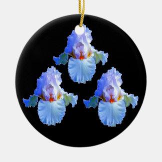 DEKORATIVE WEISSE PASTELLiris-MUSTER AUF SCHWARZEM Keramik Ornament