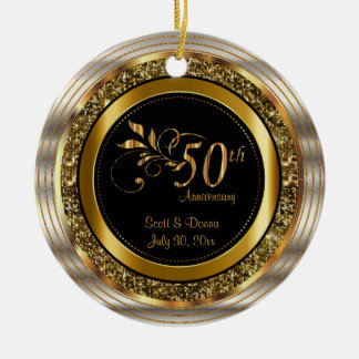 Dekorativer 50. goldener Jahrestag Rundes Keramik Ornament