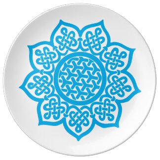 Dekorativer blauer Celtic Teller Aus Porzellan