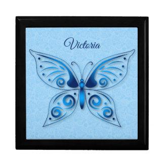 Dekorativer blauer Schmetterling Geschenkbox