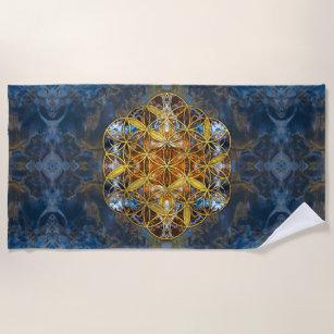 Dekorativer Edelstein-heilige Geometrie-Blume des Strandtuch