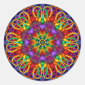 Dekorativer Mandalaaufkleber mit hellen Farben Runde Aufkleber