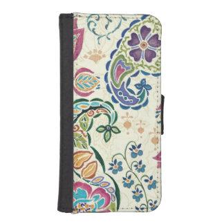 Dekorativer Pfau und bunte Blumen I Phone 5 Portmonees