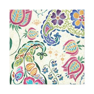 Dekorativer Pfau und bunte Blumen Leinwanddrucke