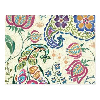 Dekorativer Pfau und bunte Blumen Postkarte