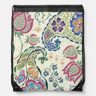 Dekorativer Pfau und bunte Blumen Turnbeutel