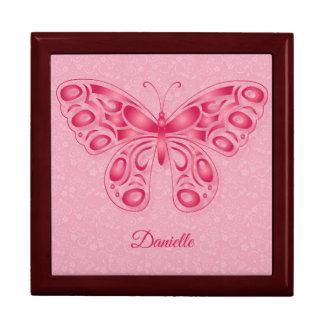 Dekorativer rosa Schmetterling Erinnerungskiste