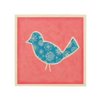 Dekorativer Vogel mit Mustern auf rosa Hintergrund Holzdruck