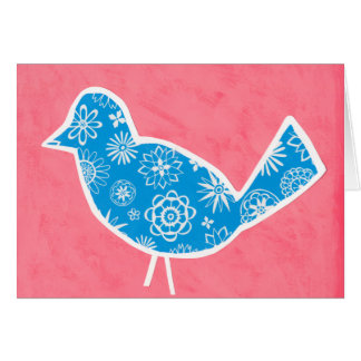 Dekorativer Vogel mit Mustern auf rosa Hintergrund Karte