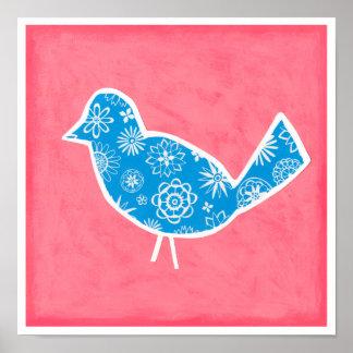 Dekorativer Vogel mit Mustern auf rosa Hintergrund Poster