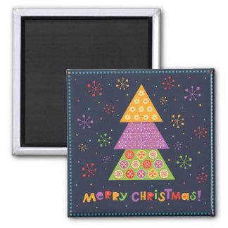 Dekorativer Weihnachtstannenbaum Quadratischer Magnet