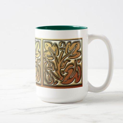 Dekoratives Blätter Zweifarbige Tasse