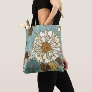 Dekoratives Blumen in Blauem und in weißem Tasche