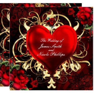 Dekoratives Blumenherz-Schwarz-rote Karte