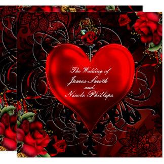 Dekoratives Blumenherz-schwarze u. rote Karte