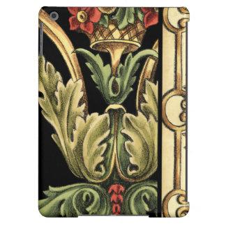 Dekoratives Blumenmuster mit schwarzen Grenzen iPad Air Hülle