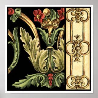Dekoratives Blumenmuster mit schwarzen Grenzen Poster