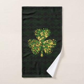 Dekoratives irisches Kleeblatt - Klee-Gold und Badhandtuch Set