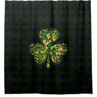 Dekoratives irisches Kleeblatt - Klee-Gold und Duschvorhang