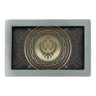 Dekoratives Khanda Symbolgold auf Schwarzem Rechteckige Gürtelschnalle