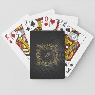 Dekoratives Rahmen-Monogramm auf schwarzem Spielkarten