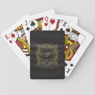 Dekoratives Rahmen-Monogramm auf schwarzer Seide Spielkarten