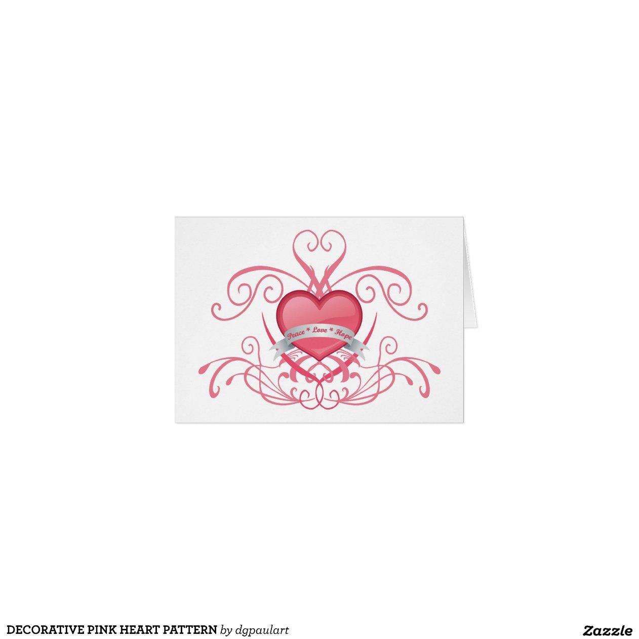 dekoratives rosa herz muster gru karte zazzle. Black Bedroom Furniture Sets. Home Design Ideas