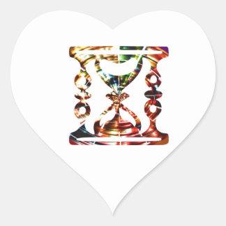 Dekoratives Stunden-Glas - funkelnder roter Herz-Aufkleber