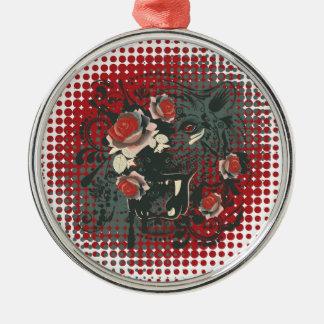 Dekoratives Tiger-Porträt 2 Silbernes Ornament